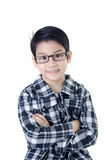 Gullig pys med ögonexponeringsglas Arkivbild
