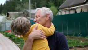 Gullig pys som kramar hans farfar, sommardet fria arkivfilmer