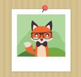 Gullig räv för tappning i polaroid- illustrationlägenhet Arkivbild