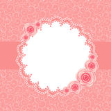 Gullig ram med Rose Flowers Vector Illustration Arkivfoton