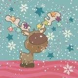 Gullig ren som blåser Snowflakes Arkivbilder