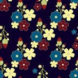 Gullig retro blommabakgrund, sömlös tygmodell Arkivfoto