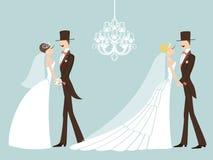 Gullig retro bröllopuppsättning Tecknad filmparbrud och brudgum EPS Arkivfoton