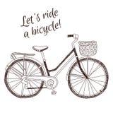 Gullig retro dragen cykel för stiltappning hand på vit bakgrund Fotografering för Bildbyråer