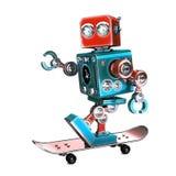 Gullig Retro robot som 3D rider en skateboard illustration 3d Innehåller den snabba banan Fotografering för Bildbyråer