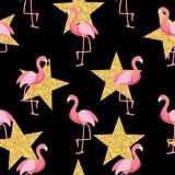 Gullig Retro sömlös illustration för vektor för flamingomodellbakgrund stock illustrationer