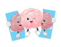 Gullig reva för innehav för tecknad filmhjärntecken av den sjukliga hjärnan stock illustrationer