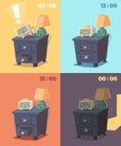 Gullig ringklocka på olika tider av dagen Arkivfoton