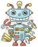 Gullig robot med sex händer som rymmer olika funktionsdugliga hjälpmedel