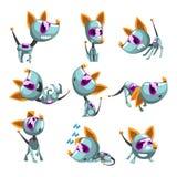 Gullig robotic hunduppsättning, roligt robotdjur i olika handlingvektorillustrationer på en vit bakgrund royaltyfri illustrationer