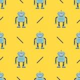 Gullig robotmodell p? en gul bakgrund barns tecken f?r tyg royaltyfri illustrationer