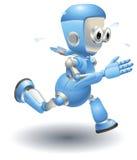 gullig robotrunning för blått tecken Royaltyfri Bild