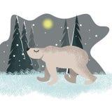 Gullig rolig bakgrund med isbjörnen framtill vektor illustrationer