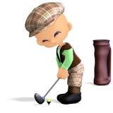 gullig rolig golfspelare för tecknad film Arkivfoton
