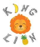 Gullig rolig lejonillustration barnsligt tryck för t-skjortan, tyg stock illustrationer