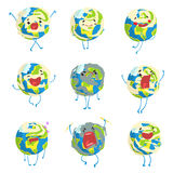 Gullig rolig planetjordemoji som visar den olika sinnesrörelseuppsättningen av färgrika teckenvektorillustrationer som isoleras p royaltyfri illustrationer
