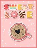 Gullig rolig vykort för söt förälskelse med koppen kaffe Den gulliga drycken rånar med att fresta inskriftreklambladet Vektorillu vektor illustrationer
