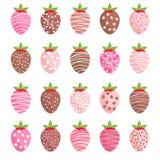 Gullig romantiker glasade jordgubbar Arkivfoton