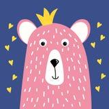 Gullig rosa björn med en krona på hennes huvud som hand-dras, vektorillustration i tecknad filmstil för design av t-skjortor, häl royaltyfri illustrationer
