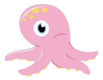 Gullig rosa bläckfisk som isoleras på white stock illustrationer
