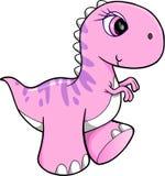Gullig rosa dinosaurievektor Arkivbilder