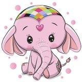 Gullig rosa elefant som isoleras på en vit bakgrund stock illustrationer