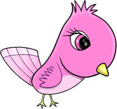 Gullig rosa fågelvektorillustration Royaltyfria Bilder