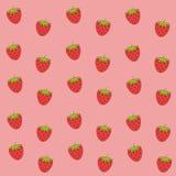Gullig rosa jordgubbetapet royaltyfri illustrationer