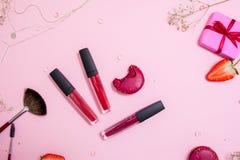 Gullig rosa plan layandläppstift med kantglans i mitten glamorös stil royaltyfria bilder
