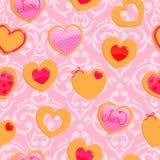 Gullig rosa sömlös valentin dagmodell Fotografering för Bildbyråer