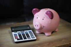 Gullig rosa spargris för finansbesparingar med räknemaskinen Royaltyfria Bilder