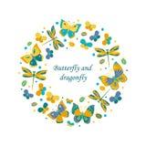 Gullig rund ram som göras av fjäril och dragonfl Royaltyfri Bild