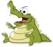Gullig ruskig krokodil för tecknad filmvektor vektor illustrationer