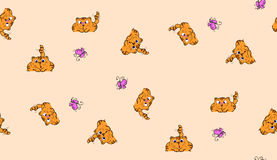 Gullig sömlös bakgrund med roliga katter i tecknad filmstil Arkivbild