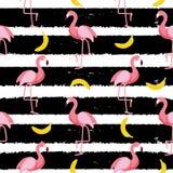Gullig sömlös illustration för flamingomodellvektor vektor illustrationer