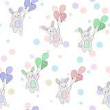 Gullig sömlös modell av kaniner royaltyfri illustrationer