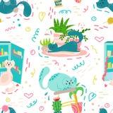 Gullig sömlös modell med husväxter, katter och klotter Blommor i krukor Hygge hem vektorbakgrundsdesign royaltyfri illustrationer