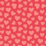 Gullig sömlös röd hjärtamodellkorall royaltyfri illustrationer