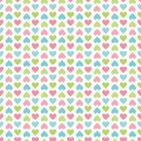 Gullig sömlös retro bakgrund med pastellfärgade hjärtor royaltyfri illustrationer
