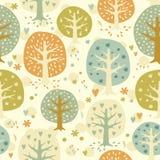 Gullig sömlös skogbakgrund för vektor Royaltyfria Bilder