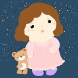 Gullig sömnlösa flicka och hennes docka vektor illustrationer