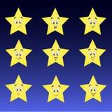 Gullig samling av stjärnor med lyckliga smileys vektor illustrationer