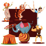 Gullig samling för cirkusdjur Royaltyfri Foto