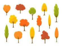 Gullig samling för träd för tecknad filmhöstnedgång vektor illustrationer