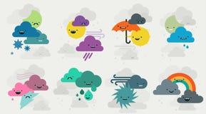 Gullig samling för väderemojistecken Arkivbilder