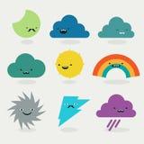Gullig samling för väderemojistecken Arkivfoton