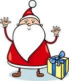 Gullig Santa Claus tecknad filmillustration Fotografering för Bildbyråer