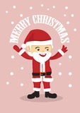 Gullig Santa Clause Merry Christmas Vector illustration Royaltyfria Bilder
