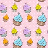 gullig seamless texturtappning för muffin Arkivfoton