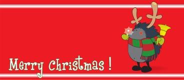 Gullig seende igelkott som kläs som Rudolph renen Fotografering för Bildbyråer